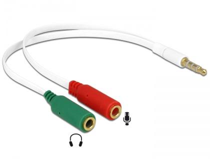 Headset Adapter 1 x 3, 5 mm 4 Pin Klinkenstecker an 2 x 3, 5 mm 3 Pin Klinkenbuchse (iPhone), Delock® [65447]