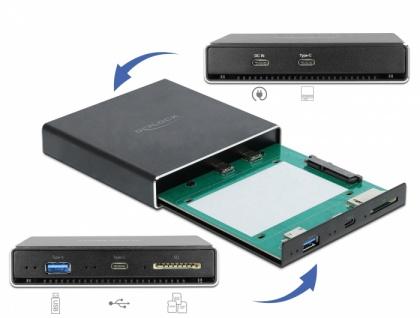 Externes Gehäuse für 2, 5' SATA HDD / SSD mit zusätzlichem USB Type-C™ und Typ-A Port und SD Slot, Delock® [42618]
