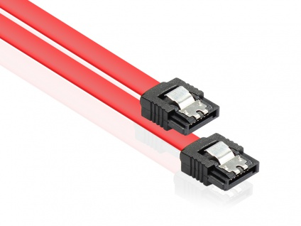 Anschlusskabel SATA 6 Gb/s mit Metallclip, rot, 0, 5m, Good Connections®