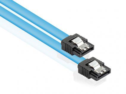 Kabelmeister® SATA 6 Gb/s Anschlusskabel mit Metallclip, blau, 0, 5m