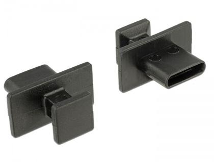 Staubschutz für USB Type-C Buchse mit großem Griff, 10 Stück, schwarz, Delock® [64015]