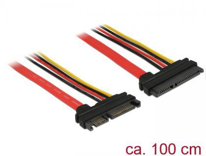 Verlängerungskabel SATA 6Gb/s, 22 Pin Stecker an SATA 22 Pin Buchse (5V + 12V), 1m, Delock® [83804]