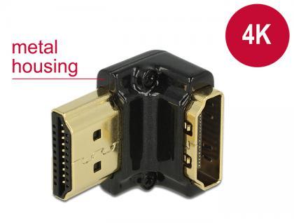 Adapter High Speed HDMI mit Ethernet - HDMI-A Buchse an HDMI-A Stecker 4K 90____deg; gewinkelt unten schwarz, Delock® [65662]