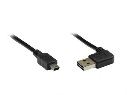 Anschlusskabel USB 2.0 EASY Stecker A an Mini B Stecker, gewinkelt, schwarz, 5m, Good Connections®