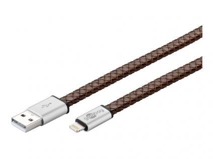 USB Sync- und Ladekabel, Apple Lightning, Echtleder, 1m