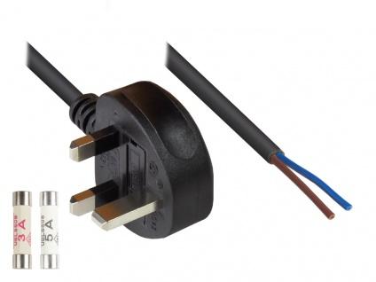 Kabelmeister® Netzkabel England/UK Netz-Stecker Typ G (BS 1363) an an abisolierte Enden (2-Pol), 3A + 5A Sicherung, schwarz, 0, 75 mm², 1, 5 m