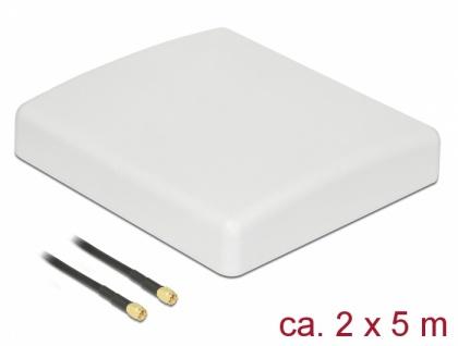 LTE MIMO Antenne 2 x SMA Stecker 8 dBi direktional mit Anschlusskabel RG-58 5 m weiß outdoor , Delock® [89890]