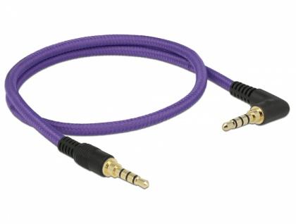 Klinkenkabel 3, 5 mm 4 Pin Stecker an Stecker gewinkelt, violett, 0, 5m, Delock® [85608]
