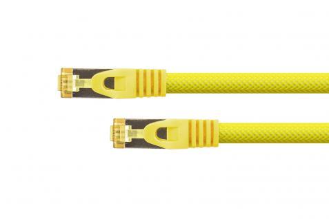 kabelmeister® RJ45 Patchkabel mit Cat. 7 Rohkabel, Rastnasenschutz (RNS®) und Nylongeflecht, S/FTP, PiMF, halogenfrei, 500MHz, OFC, gelb, 0, 25m