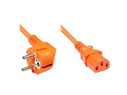 Netzkabel Schutzkontakt-Stecker an Kaltgeräte-Buchse, Typ F an C13, 1, 8m, orange, Good Connections®