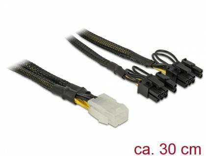 PCI Express Stromkabel 6 Pin Buchse > 2 x 8 Pin Stecker 30 cm, Delock® [85455]