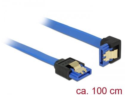 Kabel SATA 6 Gb/s Buchse gerade an SATA Buchse unten gewinkelt, mit Goldclips, blau, 1m, Delock® [85093]