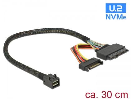 Kabel SFF-8643 Stecker an U.2 SFF-8639 + SATA Strombuchse, 0, 3m, Delock® [84823]