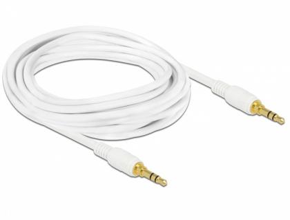 Klinkenkabel 3, 5 mm 3 Pin Stecker an Stecker, 3m, weiß, Delock® [85552]