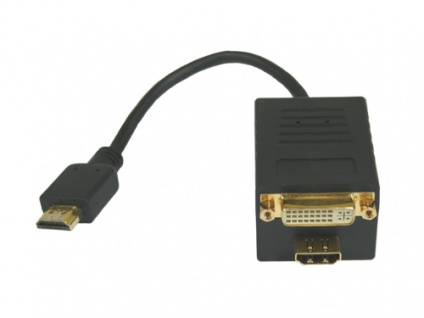 HDMI Y-Kabel, 1x HDMI-St an 1x HDMI-Bu + 1x DVI-D-Bu (24+1), Good Connections®