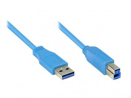 kabelmeister® Anschlusskabel USB 3.0 Stecker A an Stecker B, blau, 1m