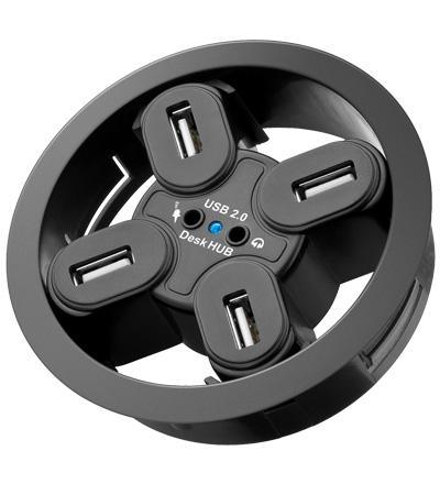 USB 2.0 Hub 4-Port + 2 x 3, 5mm Audio-Buchsen zum Einbau in Schreibtisch-Kabeldurchführungen - Vorschau