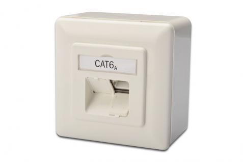 RJ45 Aufputzdose CAT 6a, 2-fach, designkompatibel, geschirmt, Digitus® [DN-9007-S-1]
