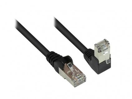 Patchkabel, Cat. 6, S/FTP, PiMF, 250MHz, einseitig 90____deg; nach unten gewinkelt, schwarz, 1m, Good Connections