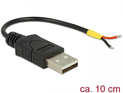 USB 2.0 Kabel Typ-A Stecker an 2x offene Kabelenden Strom, für Raspberry Pi, 0, 1m, Delock® [85250]