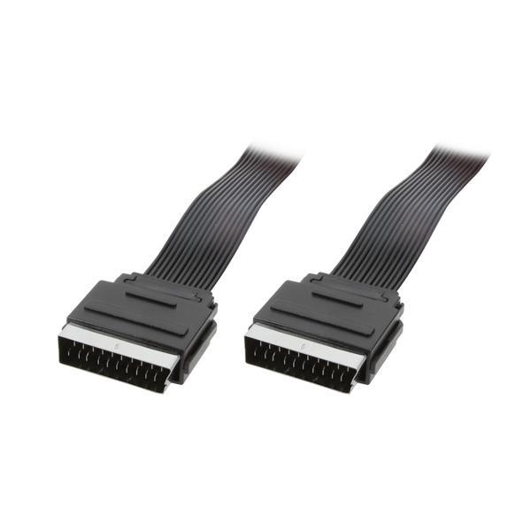 Anschlusskabel Scart Stecker an Scart Stecker, flach, schwarz, 2m, LogiLink® [CA1027]