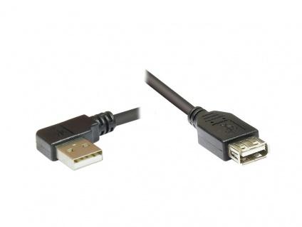 Verlängerungskabel USB 2.0, Stecker A gewinkelt an Buchse A, schwarz, 1, 5m, Good Connections®
