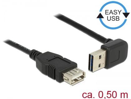 Verlängerungskabel EASY-USB 2.0 Typ-A Stecker gewinkelt oben / unten an USB 2.0 Typ-A Buchse, schwarz, 0, 5 m, Delock® [85185]