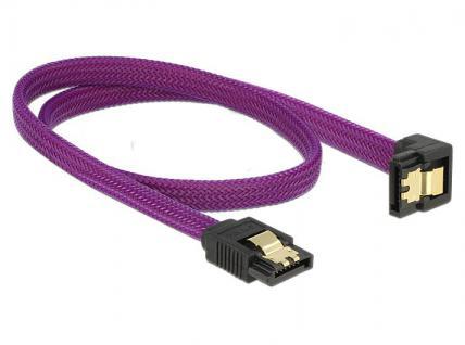 Anschlusskabel SATA 6Gb/s, Stecker gerade/Stecker nach unten gewinkelt Metall, Premium Nylon Geflecht, violett, 0, 5m, Delock® [83696]