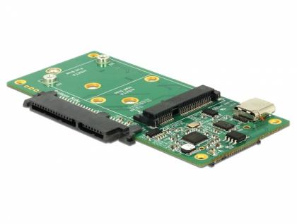 Konverter SuperSpeed USB 10 Gbps (USB 3.1 Gen 2) mit USB Type-C™ Buchse > 1 x SATA / 1 x M.2 Key B / 1 x mSATA , Delock® [62993]