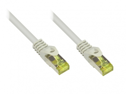 RJ45 Patchkabel mit Cat. 7 Rohkabel und Rastnasenschutz (RNS®), S/FTP, PiMF, halogenfrei, 500MHz, OFC, grau, 40m, Good Connections®