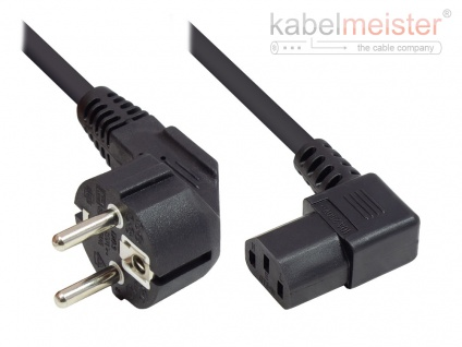 kabelmeister® Netzkabel Schutzkontakt-Stecker Typ E+F (CEE 7/7, gewinkelt) an C13 (rechts gewinkelt), schwarz, 0, 75 mm², 1, 8 m