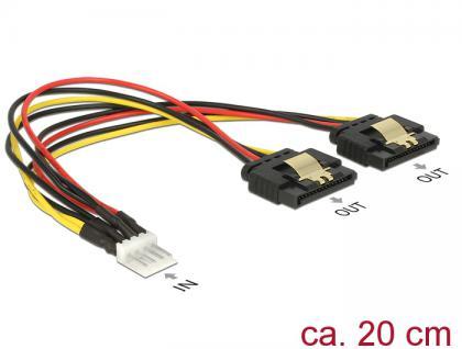 Kabel Power Floppy 4 Pin Stecker an 2x SATA 15 Pin Buchse Metall, 0, 2m, Delock® [85236]