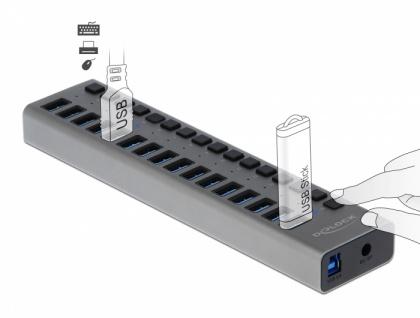 Externer USB 3.0 Hub mit 16-Ports + Schalter , Delock® [63978]