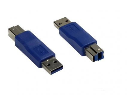 kabelmeister® Adapter USB 3.0 Typ A Stecker auf Typ B Stecker, blau