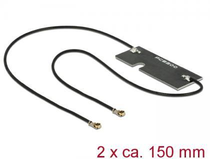WLAN Doppelantenne MHF IV /HSC MXHP32 kompatibler Stecker 802.11 ac/a/h/b/g/n 3-5dBi 2x 150mm PCB intern Klebemontage, Delock® [89569]