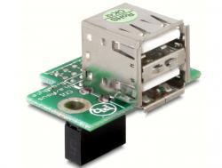 USB Pinheader Buchse an 2x USB 2.0 Buchse horizontal, Delock® [41761]