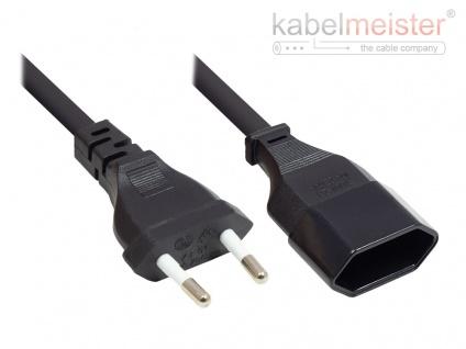 kabelmeister® Euro-Verlängerung Euro-Stecker Typ C (gerade) an Euro-Buchse (gerade), schwarz, 0, 75 mm², 2 m