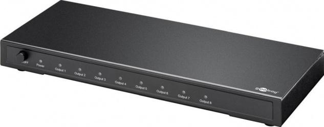 HDMI™ Splitter 8-fach (1x Eingang, 8x Ausgang), UHD 4K2K, vergoldete Kontakte, aktive Signalverstärkung, geschirmtes Metallgehäuse, inkl. Netzteil
