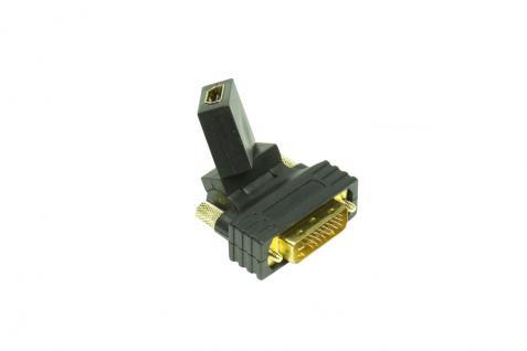 Adapter HDMI 19pol Buchse an DVI 24+1 Stecker, axial verstellbar, Good Connections®