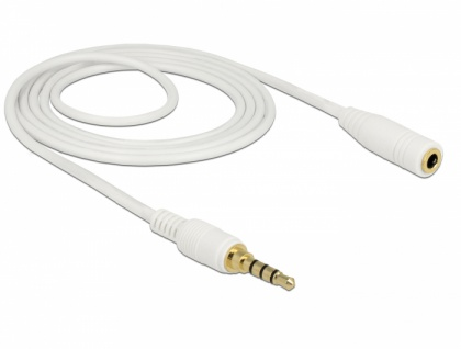 Klinkenverlängerungskabel 3, 5 mm 4 Pin Stecker an Buchse, weiß, 2m, Delock® [85632]