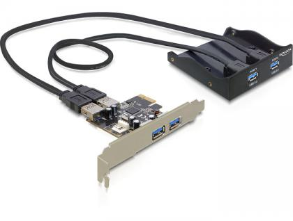 Frontpanel 3, 5', 2x USB 3.0 / 2x USB 3.0 am Slotblech, schwarz, Delock® [61893]