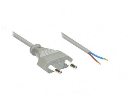 Euro-Netzkabel mit abisolierten Enden, grau, 1, 5m, Good Connections®