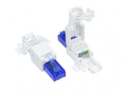 RJ45 Stecker Cat. 6a, UTP, werkzeugfrei, für 5, 2mm, 6, 4mm und 7, 5mm Kabeldurchmesser, Good Connections®