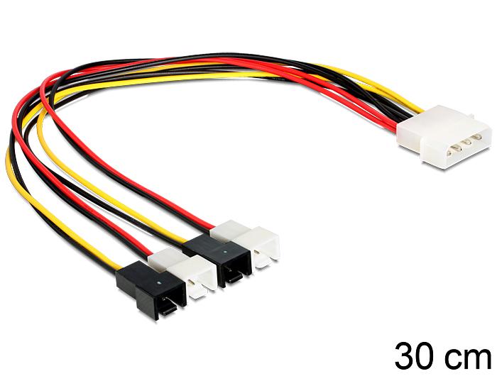 Stromkabel 4 Pin Molex Stecker an 4 x 2 Pin Lüfter Stecker, Delock ...