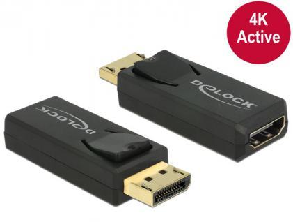 Adapter DisplayPort 1.2 Stecker an HDMI Buchse 4K Aktiv, schwarz, Delock® [65573]