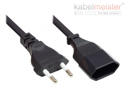 kabelmeister® Euro-Verlängerung Euro-Stecker Typ C (gerade) an Euro-Buchse (gerade), schwarz, 0, 75 mm², 0, 2 m
