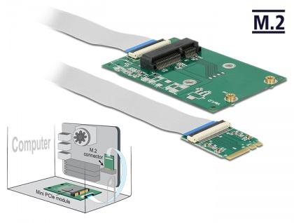 Konverter M.2 Key A+E Stecker an 1x Mini PCIe Slot half size / full size mit flexiblem Kabel, Delock® [62848]