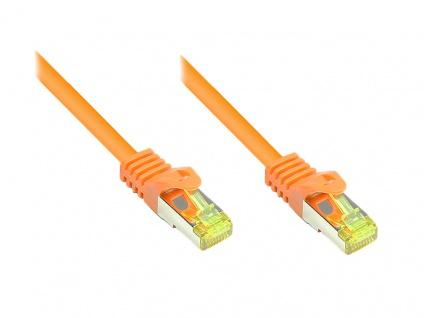 RJ45 Patchkabel mit Cat. 7 Rohkabel und Rastnasenschutz (RNS®), S/FTP, PiMF, halogenfrei, 500MHz, OFC, orange, 0, 5m, Good Connections®