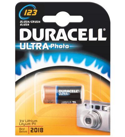 Duracell® Foto Batterie Lithium (DL 123) für Foto, Digital-, MP3 Geräte, 1er Blister