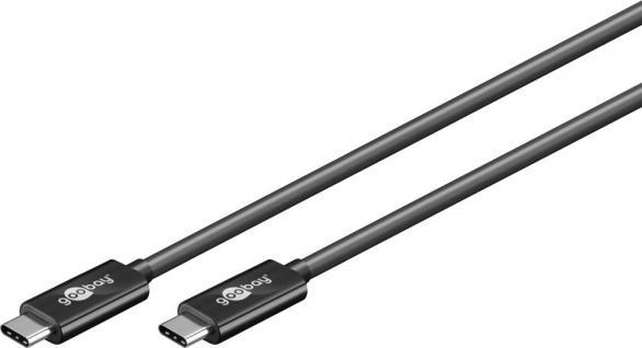 Anschlusskabel USB 3.1 (Gen.2), USB-C-Stecker an USB-C-Stecker, schwarz, 0, 5m